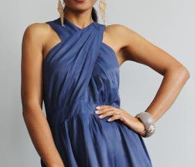 Navy Blue Maxi Dress - Cross over dress with pleated skirt : True Elegance Collection II