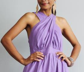 Purple Maxi Dress - Cross over dress with pleated skirt : True Elegance Collection II