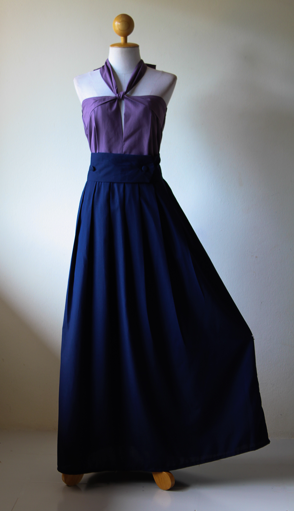 Maxi dress navy blue with purple top long bridesmaid for Navy blue maxi dress for wedding