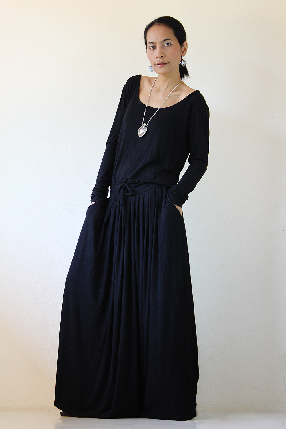 black maxi dress long sleeve dress on luulla