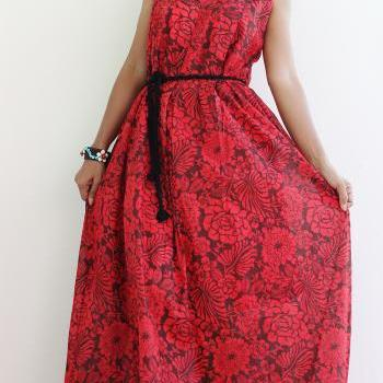 Red Floral Maxi Dress - Sleeveless Summer Dress : Happy Holiday Collection