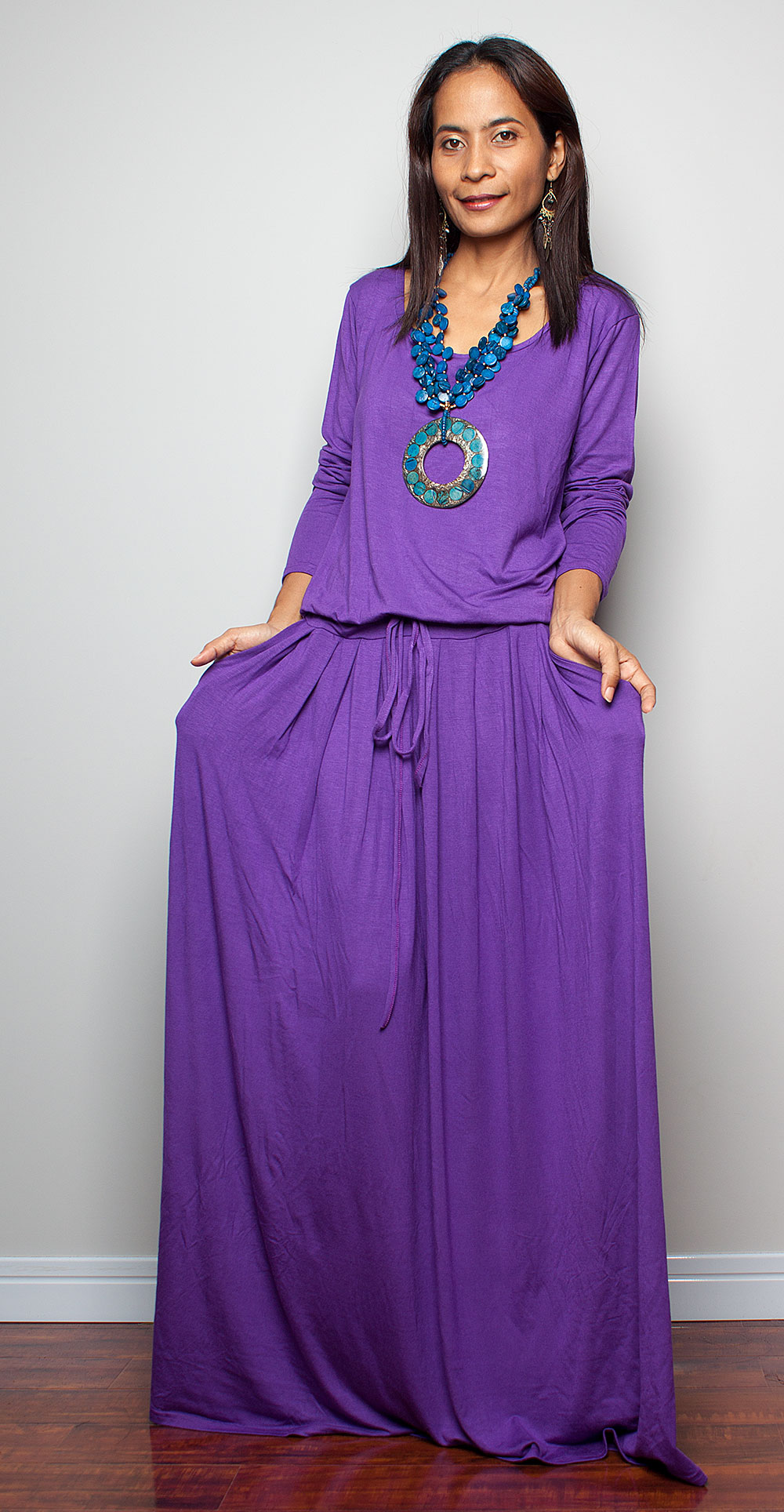 Purple maxi dress long sleeve dress on luulla for Purple maxi dresses for weddings