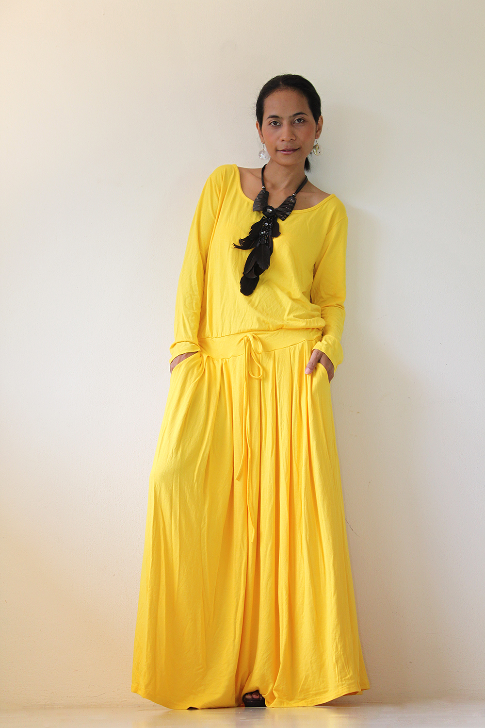 Yellow Maxi Dress - Long Sleeve Dress on Luulla